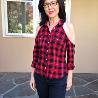 Melissa's #Upcycled Cold Shoulder Flannel #Refashion