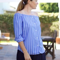 Blouse to off-shoulder top #refashion