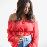 #DIY off shoulder cropped peasant blouse