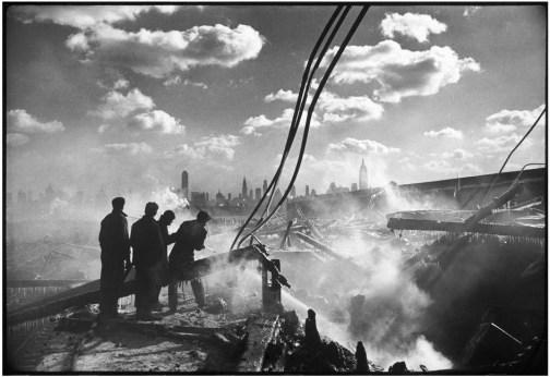USA. Fire in Hoboken, facing Manhattan. 1947.