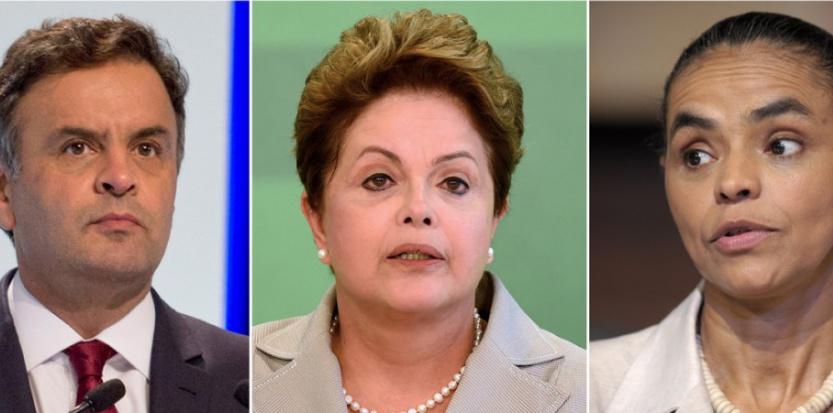 Les trois principaux candidats à la présidentielle brésilienne: Aecio Neves (PSDB), Dilma Rousseff (PT) et Marina Silva (PSB) (de gauche à droite). (ALMEIDA-SA-LIMA / AFP)