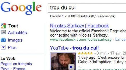 """Le résultat de la recherche """"trou du cul"""" sur Facebook mène en premier lien vers la page Facebook de Nicolas Sarkozy (DR)"""