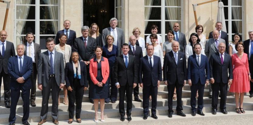 Le gouvernement Valls I en aout 2014. (DOMINIQUEFAGET/AFP)