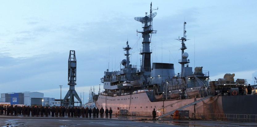 """La France sursoit """"jusqu'à nouvel ordre"""" à la livraison du premier navire Mistral à la Russie. Laetitia Notarianni/AP/SIPA"""