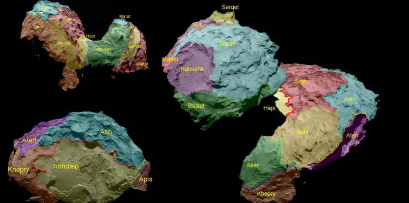 Carte des régions de la comète 67P Tchuriomov Gerassimenko ESA