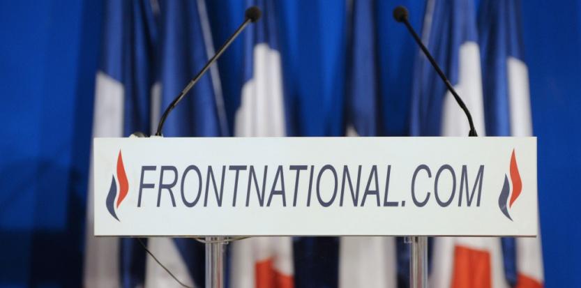 Un pupitre du Front national - image d'illustration (BERTRAND GUAY / AFP).