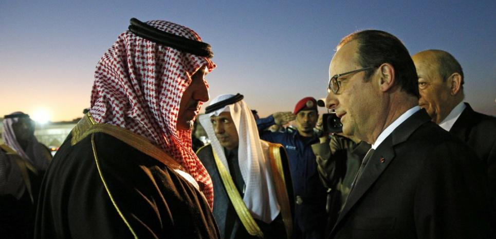 François Hollande, lors de sa visite en Arabie Saoudite en janvier 2015 à l'occasion de la mort du roi Abdullah (YOAN VALAT / POOL / AFP)