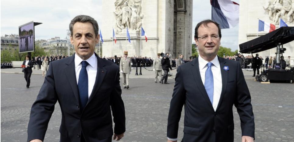 Nicolas Sarkozy et François Hollande en mai 2012. (LIONEL BONAVENTURE / AFP POOL / AFP)