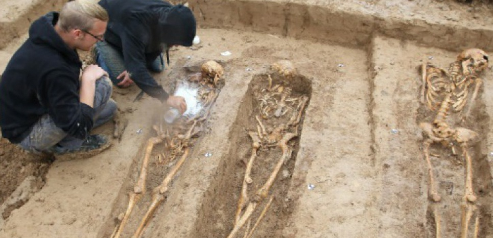 Des squelettes de soldats de Napoléon sont exhumés par des archéologues sur un chantier à Francfort, dans l'ouest de l'Allemagne, le 17 septembre 2015 (c) Afp
