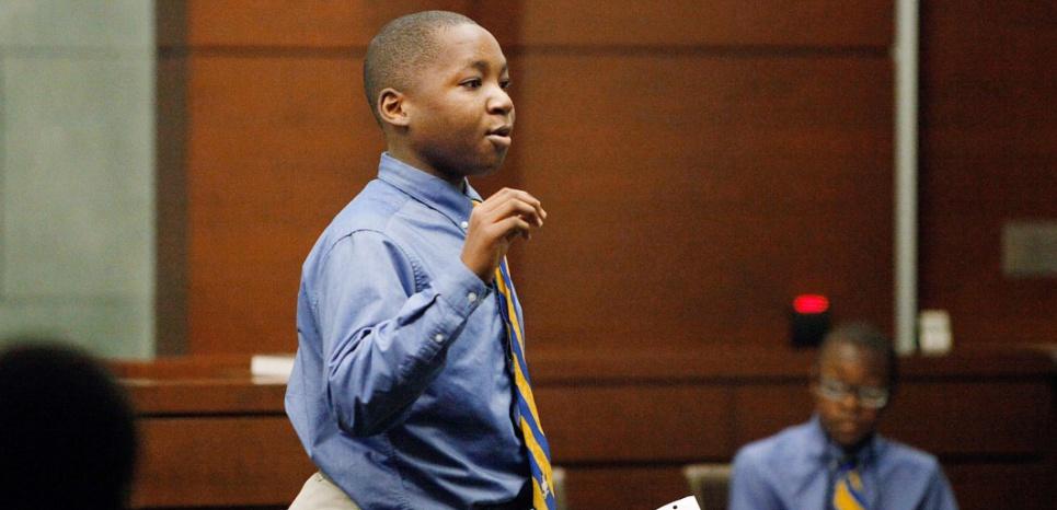 Concours de faux procès de la Durham Nativity School au tribunal du comté en décembre 2015. Christine T. Nguyen/AP/SIPA