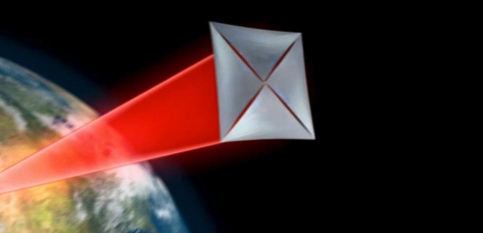 Une illustration du système à rayon laser que Stephen Hawking et l'équipe de Breakthrough Listen présentent le 12 avril 2016. ©Breakthrough Listen