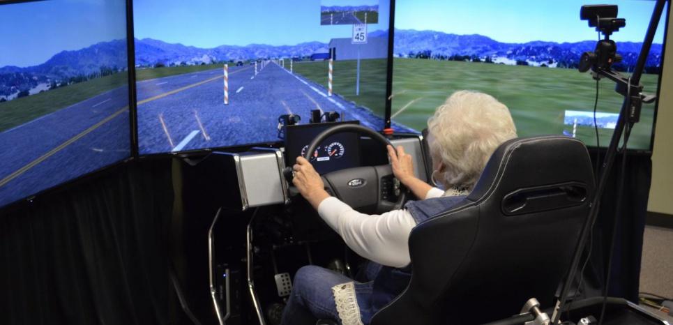 Un des 59 volontaires testés dans un simulateur de conduite. ©Malcolm Dcosta