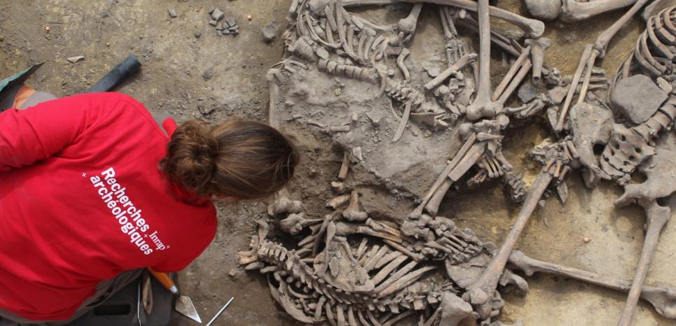 Fouille du site d'Acheinheim, en Alsace, où les vestiges d'un massacre vieux de 6000 ans, ont été découverts. Crédit: Philippe Lefranc / Inrap