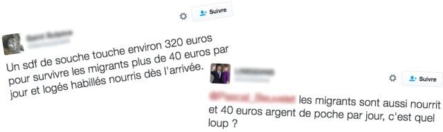 Deux messages sur Twitter évoquant les 40 euros par jour