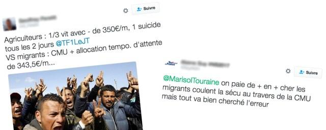 Deux messages sur Twitter évoquant la CMU pour les migrants