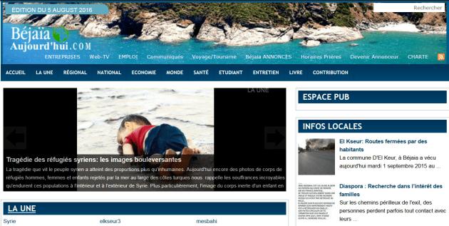 Capture d'écran du site de Bejaia-aujourdhui.com, en date du 5 août 2016