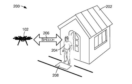 Schéma: discussion entre un drone et un humain