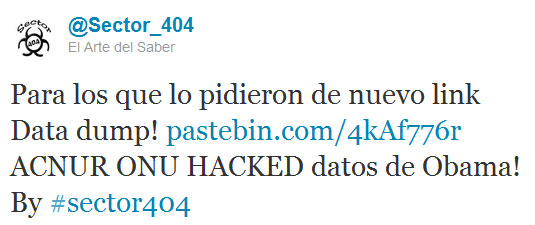 Un message de Sector 404 sur Twitter (Capture d'écran)