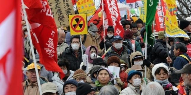 Manifestation anti-nucléaire dans le district de Fukushima. (TORU YAMANAKA / AFP)