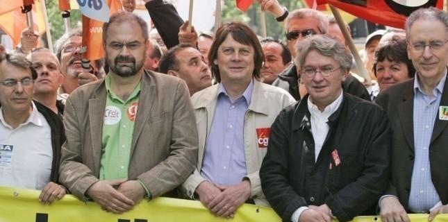 Manifestation des principaux leaders syndicaux en 2009. (François Mori - Sipa)