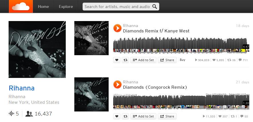 Les morceaux de Rihanna sur Soundcloud (DR)