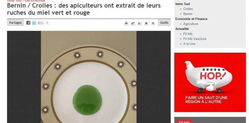 """Du miel de couleur verte en Isère. Capture du site du """"Dauphiné libéré"""" http://www.ledauphine.com/isere-sud/2013/09/11/bernin-crolles-des-apiculteurs-ont-extrait-de-leurs-ruches-un-miel-colore"""