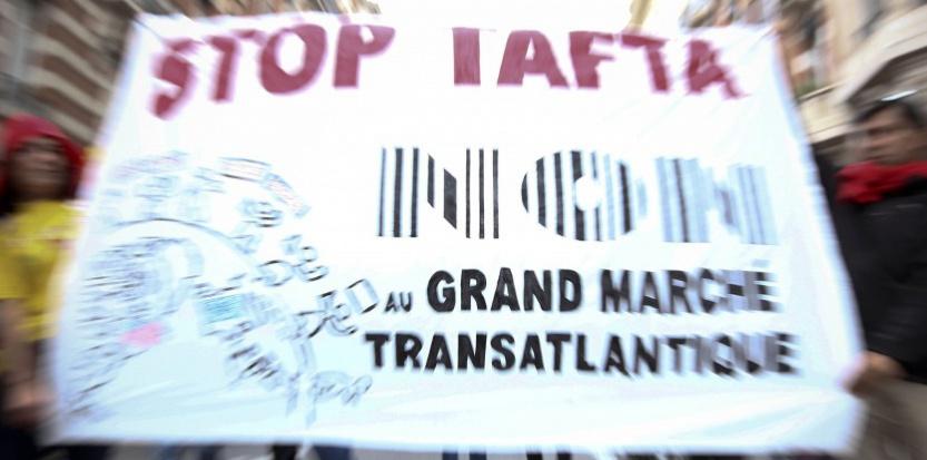 Des manifestants anti-Tafta lors du défilé du 1er mai, à Toulouse. 20 minutes / Fred Scheiber / SIPA