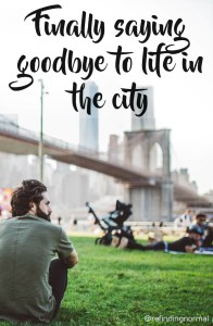 Gay sitting on the grass looking out over New York, with the title of the post