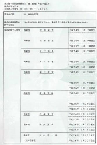 AKS登記簿謄本