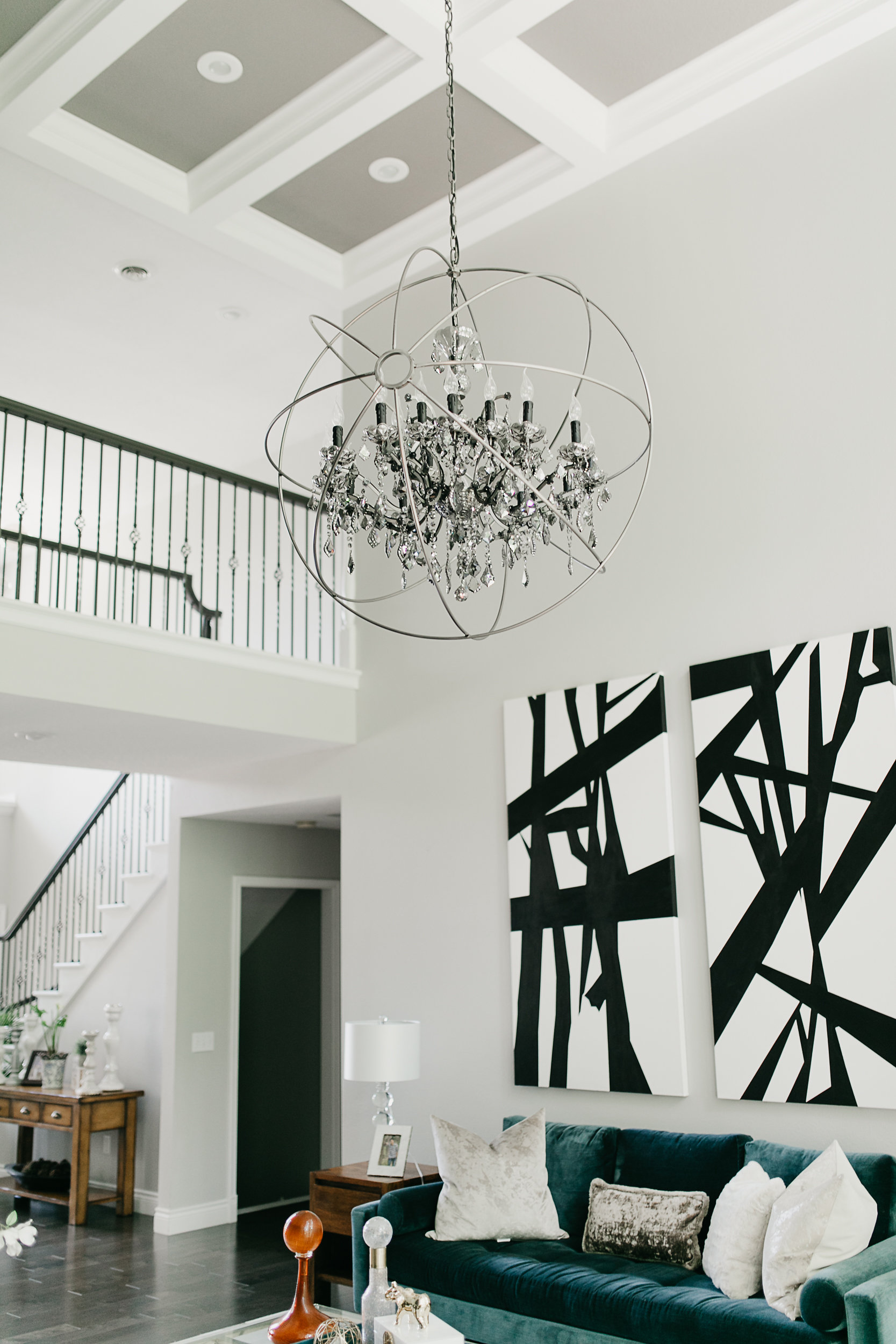 Modern living room, black and white abstract painting
