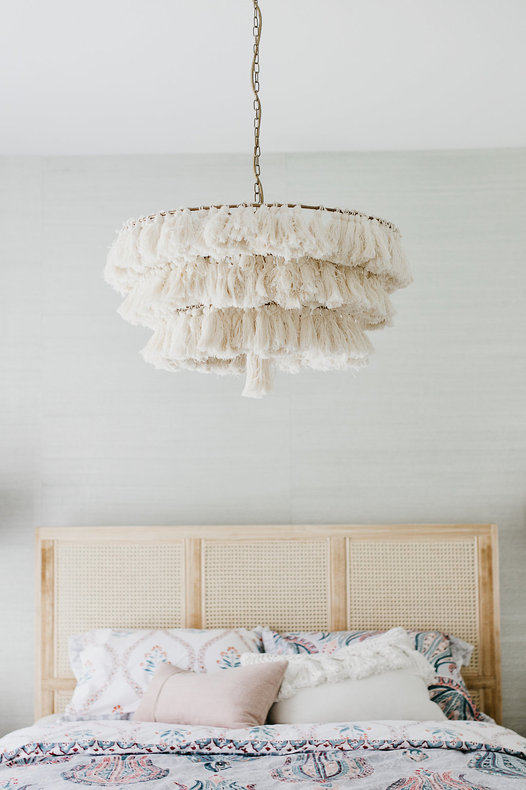 Cream, White, Tassel hanging light fixture
