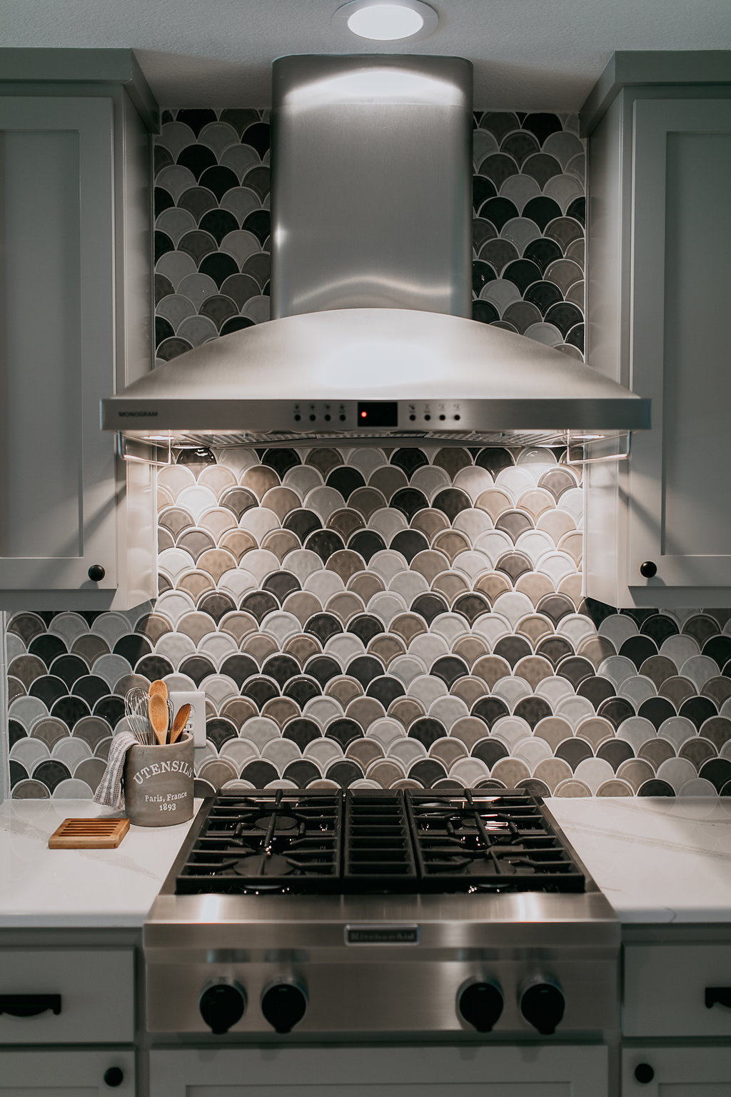 Grey, black, brown contemporary kitchen backsplash
