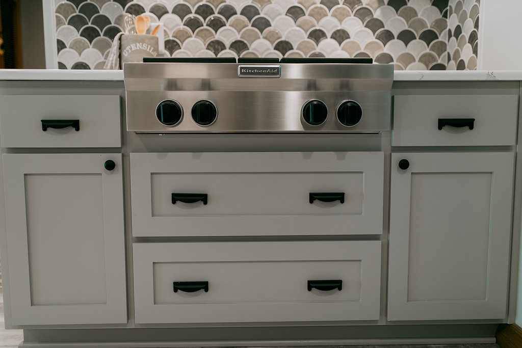 Grey stove and cabinets, contemporary kitchen