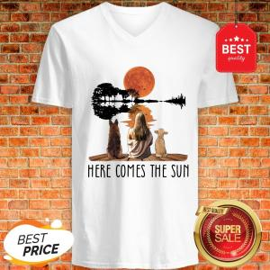 Nice Mm Dog Sun Here Comes The Sun V-Neck