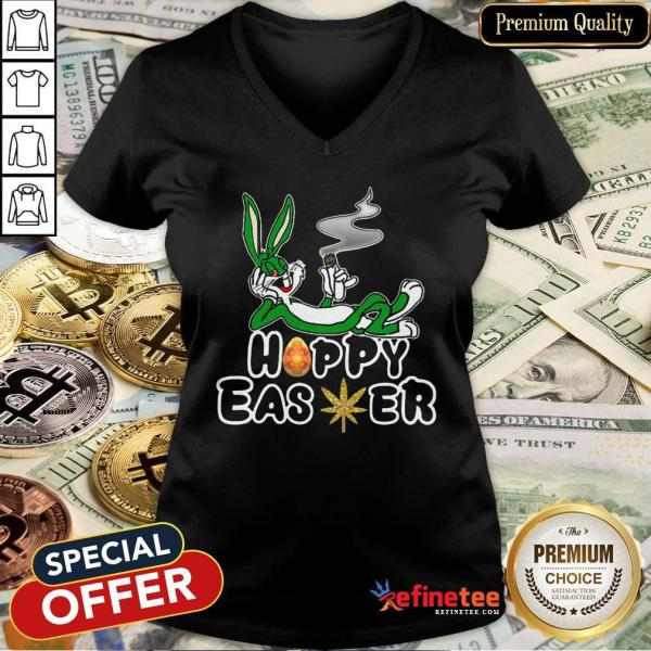 Rabbit Happy Easter Cannabis Weed Bunny V-neck - Design By Refinetee.com