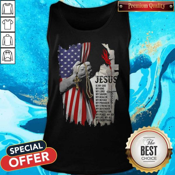 Cool Jesus Is My God My Everything American Flag Independence Day Tank Top