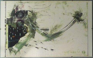 Collage mit Copy-Elementen und Pinselzeichnung, 1987, als Farbkopie DIN A3 sign m. Widmg. in Sammlung Christa Düwell