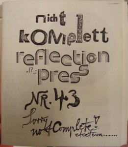 reflection press no 43, Sammlung Christa Düwell