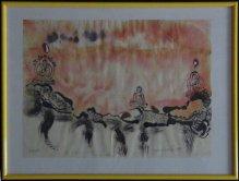 Landschaft mit Buddhas 1999, Stempeldruck auf Aquarell, DIN A 3, Sammlung Rolf Schobert