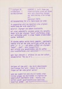 Aktionsanweisung zur Verhinderung aller Kriege, 1968/70, Sammlung Decker