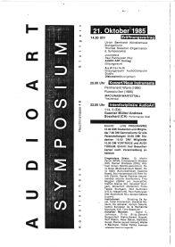 Programm zum AUDIOART Symposium Künstlerhaus Reuchlinstrasse Stuttgart Seite 1, 1985