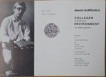 Einladung Collagen an der Grenze zum Einvironment fast 15000 km dazwischen Galerie Kolczynski 1981