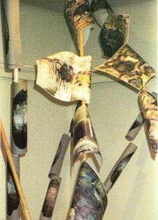 """""""Copy bites"""", Installation von Kopien mit Bambus-Stäben 1992, Linz"""