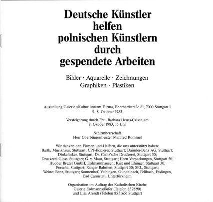 """Begleitheft zur Aktion """"Deutsche Künstler helfen polnischen Künstlern durch gespendete Arbeiten"""""""