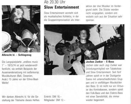 """Ankündigung von Slow Entertainment im """"Manufaktur""""-Programm, 1992"""