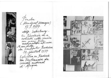 """Doppelseite im Begleitheft Violence Permanente """"Execution en Rhodesie 1977"""""""