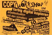 Einladung zum Copy Workshop am 10.06.1989 im Copy Shop Lautenschlager Strasse. DIN A 6
