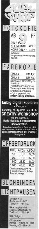 Der Copy-Shop band die Ankündigung zum Copy Workshop in seine Anzeige ein (Stuttgart live 04/1990)