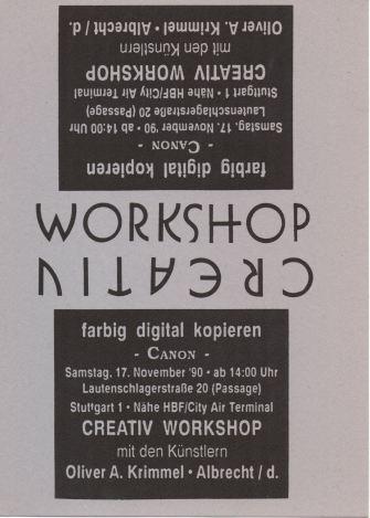 Einladung zum Creativ Workshop am 17.11.1990 im Copy Shop Lautenschlager Strasse. DIN A 6