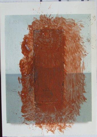 """Kunstpostkarte mit Wasserglas (""""Tag um Tag guter Tag"""") von Peter Dreher, übermalt"""